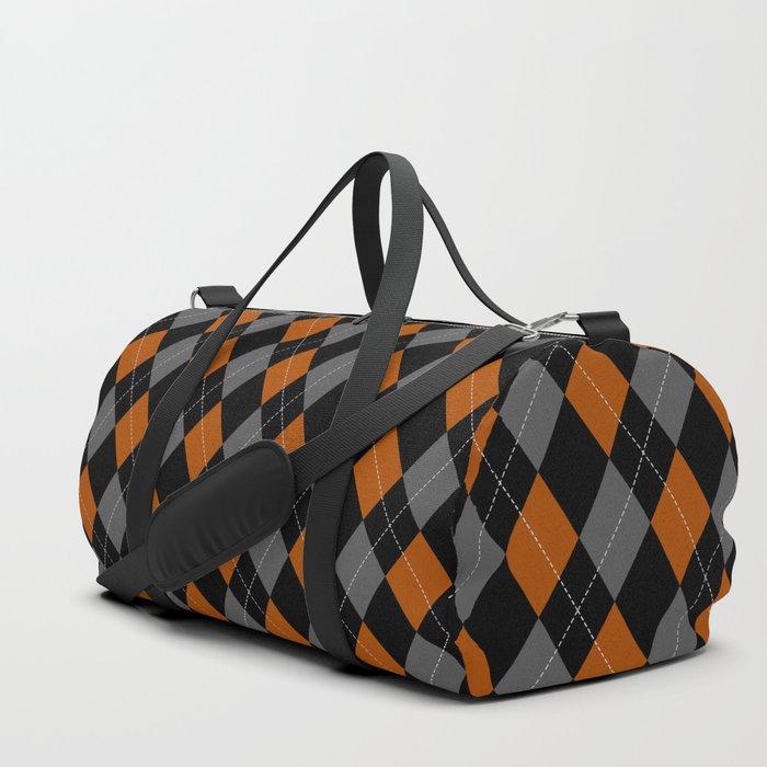 orange grey black argyle pattern