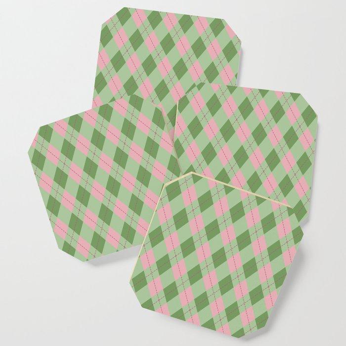 Pink green argyle pattern