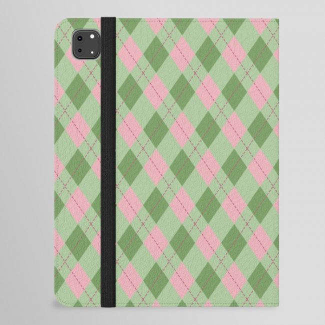 Pink green argyle pattern