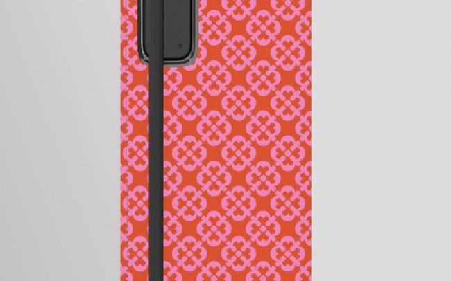 retro flower print pink orange phone case