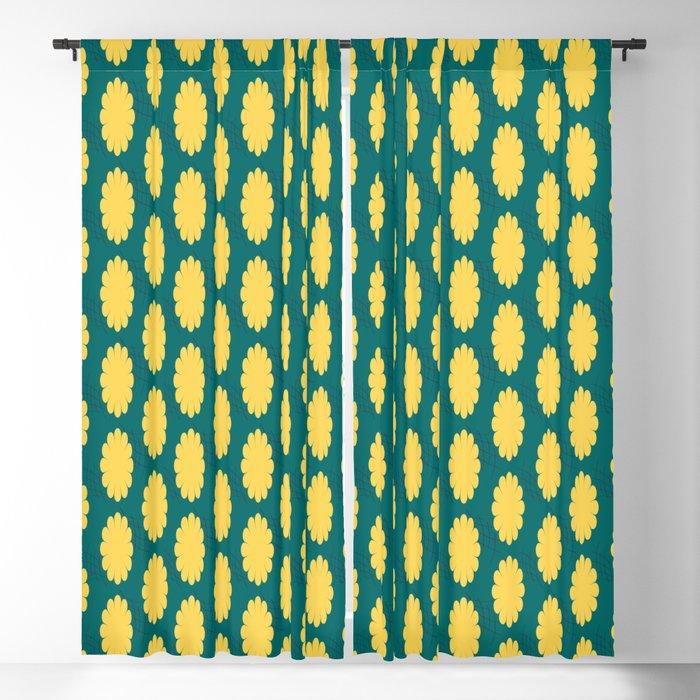 retro flower print yellow teal curtains