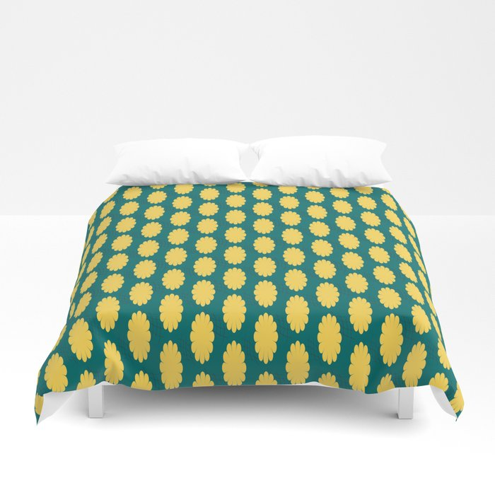 retro flower print yellow teal bed duvet covers