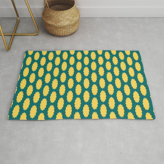 retro flower print yellow teal rug