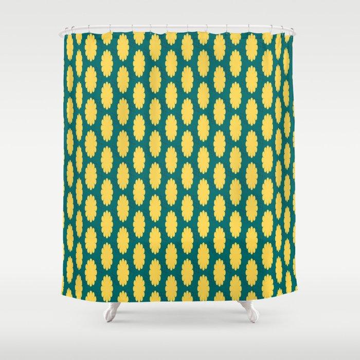 retro flower print yellow teal shower curtain