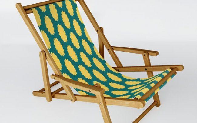 retro flower print yellow teal folding chair