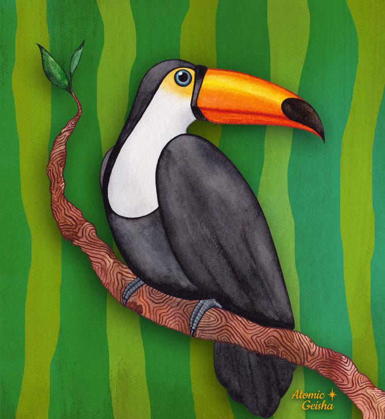 toucan art illustration atomic geisha