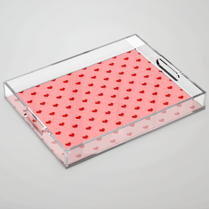 valentines hearts acrylic serving tray