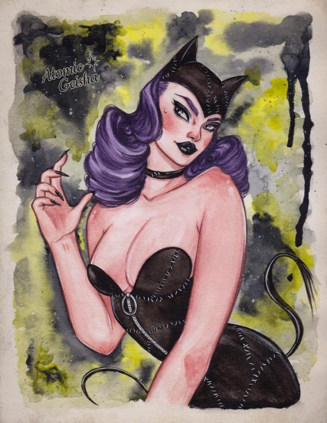 catwoman illustration pin-up
