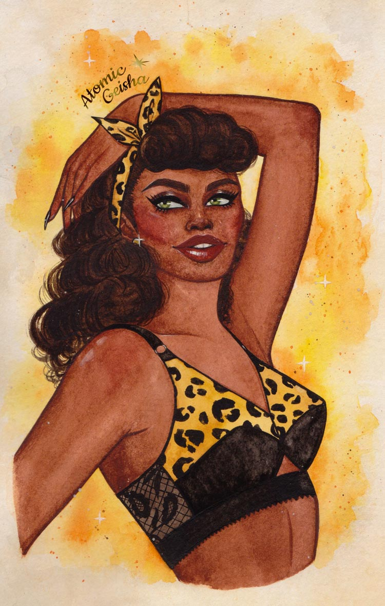 Leo zodiac pin-up water color painting
