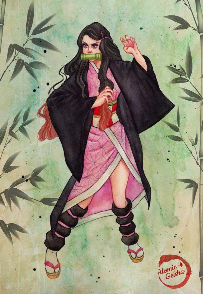 Nezuko illustration art demon slayer